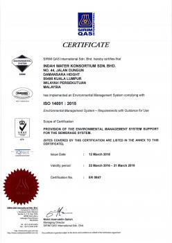ISO 14001 2015 - Environmental Mgmt System (Certificate)