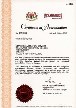 ISO IEC 17025 2005 - Certificate of Accreditation (Laboratory) - Northern Region