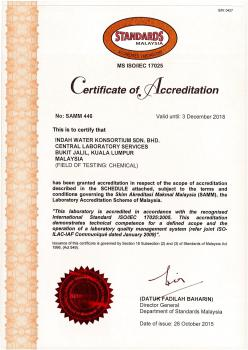 ISO IEC 17025 2005 - Certificate of Accreditation (Laboratory) - Central Region