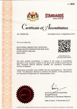 ISO IEC 17025 2005 - Certificate of Accreditation (Laboratory) - Southern Region