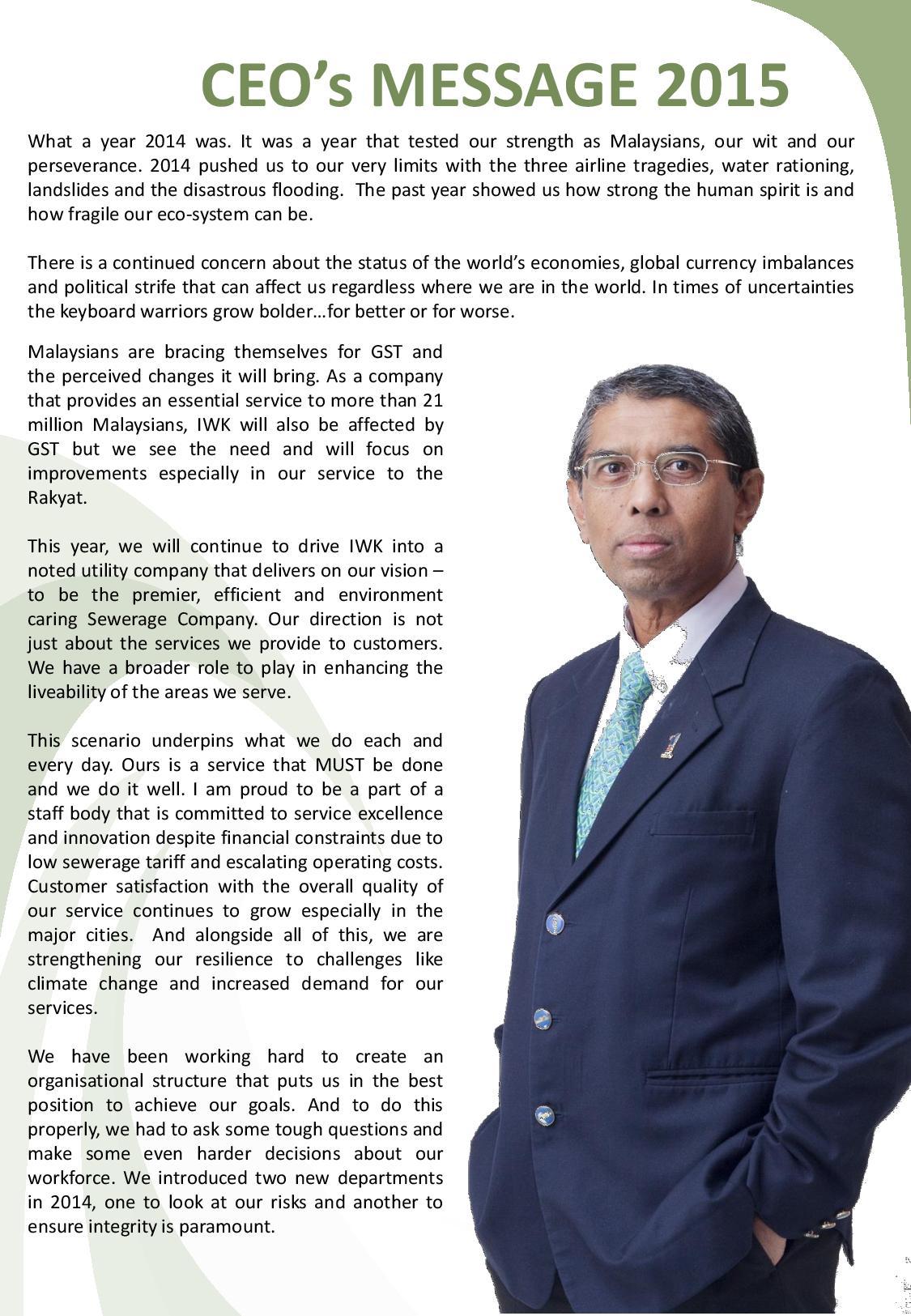 Indah Water Portal | CEO's Message 2015